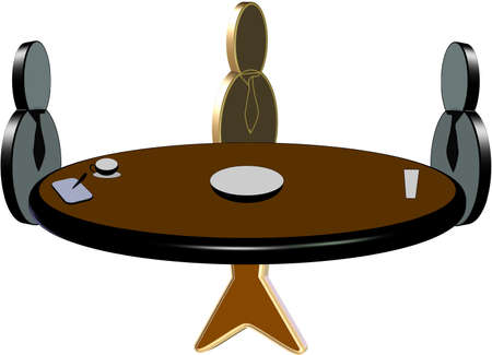 round table pictogram of conference with 3d icons