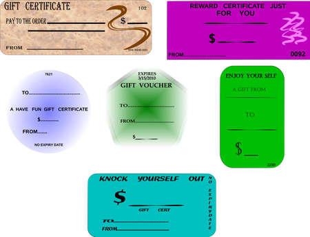 gift certificates on white Ilustrace