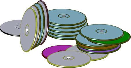 DVDs in stapels op wit
