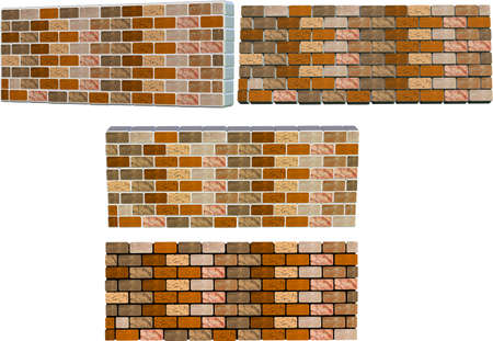 2d and 3d brick walls with different colored mortar 向量圖像