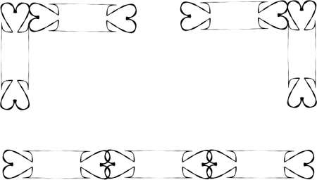 locked hearts in black on white design elements