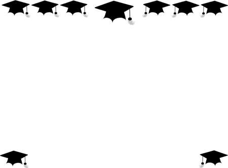 graduation background: graduation mortar board  border on white
