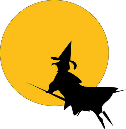 witch on broom silhouette against yellow moon Stock Photo - 4739047
