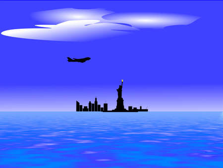 airforce: airforce one over new york city silhouette