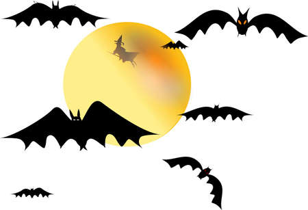 witch and bats with moon on white secluded Stock Photo - 4849791