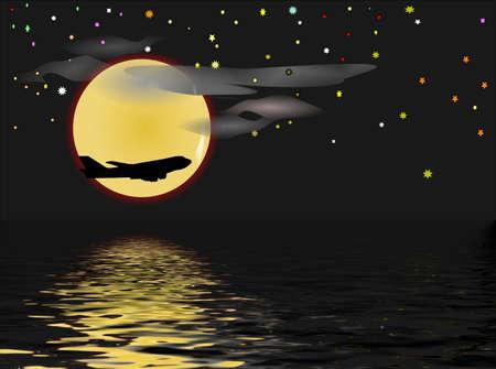 night flight over ocean Stock Photo - 4935417