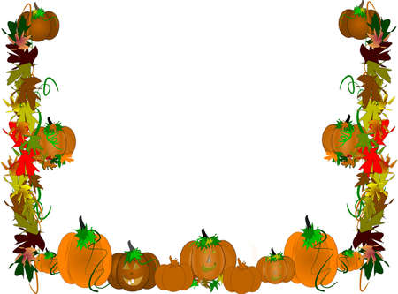 pumpkin patch border on white photo