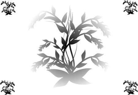 black flower design on white