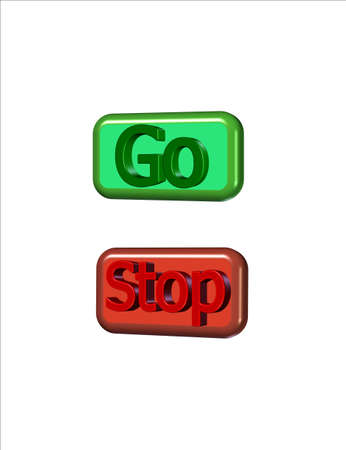 stop and go rectangular gel buttons in 3d Stock fotó