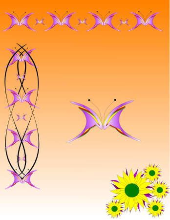 abstract butterflies borders with flowers on orange background Stock Photo - 5677431