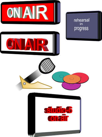 rehearsal: 3d on air radio and tv icons on white Illustration