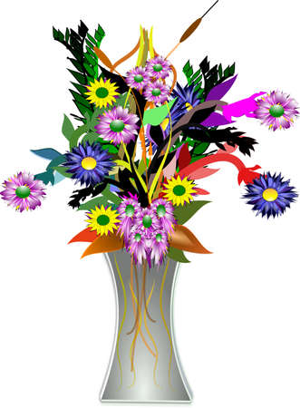 tabletop: floral arrangment in vase in 3d on white