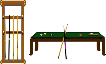steel balls: pool table and cue rack in 3d on white