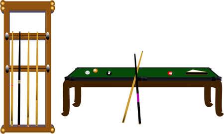 table de billard et le rack de repère en 3d sur fond blanc