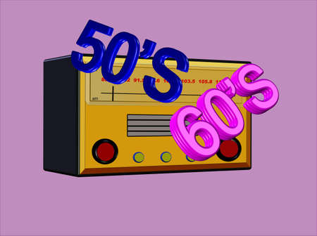50s: bubblegum radio days in 3d  Illustration