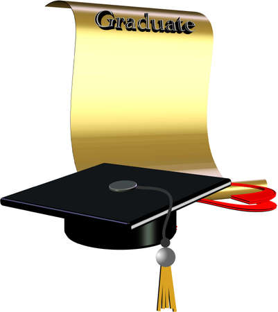 grad diploma and hat in 3d on white