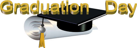 graduation day in 3d on white vector Stock Vector - 5767677