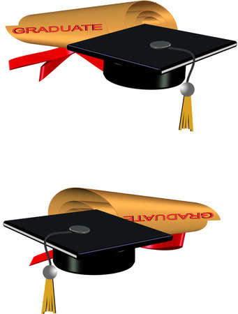 golden grad roll diploma and hat in 3d Illustration