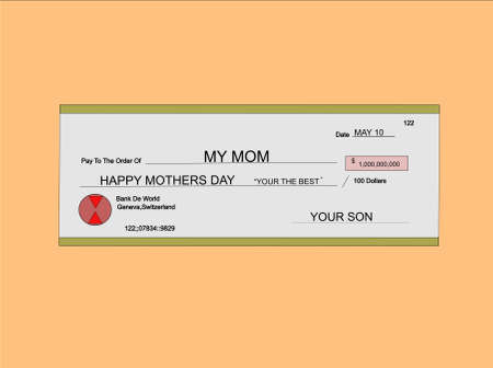 endorsement: million dollar check for mothers day