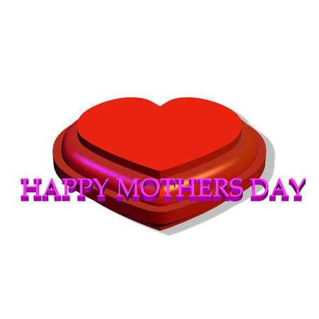 mothering: mothers day heart in 3d on white