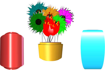 3 different vases with floral arrangement in 3d