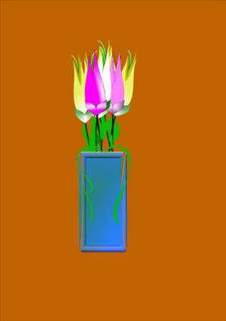 multi colored flowers in 3d vase on neutral background
