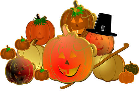 3d pumpkins with pilgrim hat on white photo