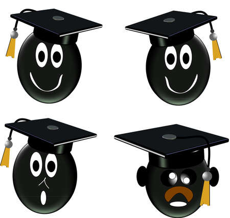eyes wide open: grad class in 3d icons on white