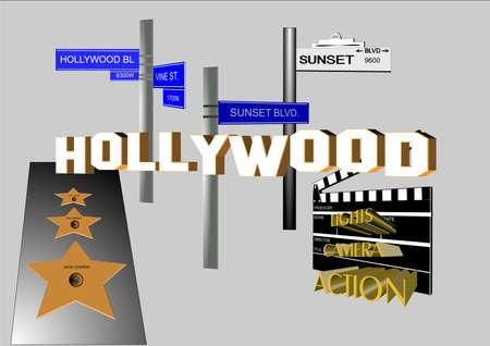 hollywood landmarks in 3d on white Vector
