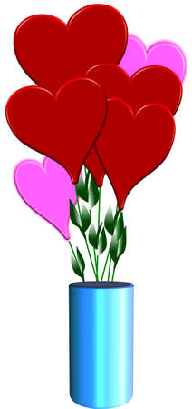 3d hearts from the heart in 3d vase on white Vector
