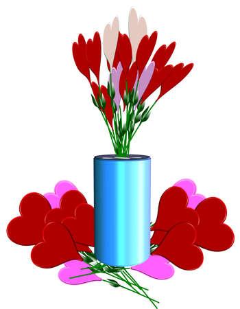 화이트 꽃병에 장미 하트의 꽃다발