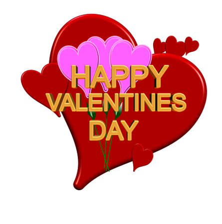 valentines day greeting in 3d on white