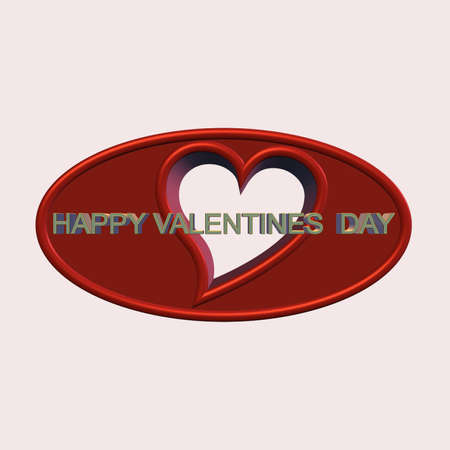 valentines day message in 3d on white