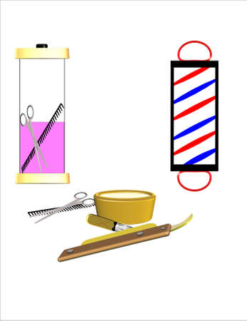 barber shop supplies in 3d on white Çizim