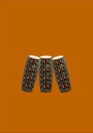 クリームの背景にアフリカのパターンを持つボンゴドラム