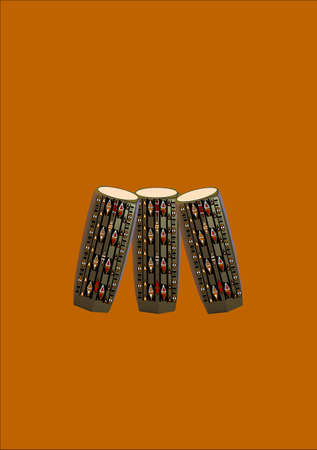 isolation: bongo drums with african patterns on creme background