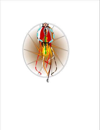 webbing: 3d native dream catcher on white Illustration