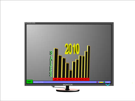 3d monitor with sales stats on white  Stock Vector - 6859934