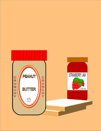 sweetened: peanut butter and jam in 3d on white Illustration