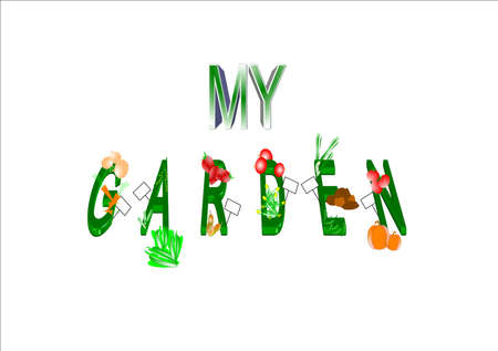 my garden in 3d  text on white illustration