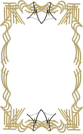 prestige: aristocrat frame and border in gold in 3d on white