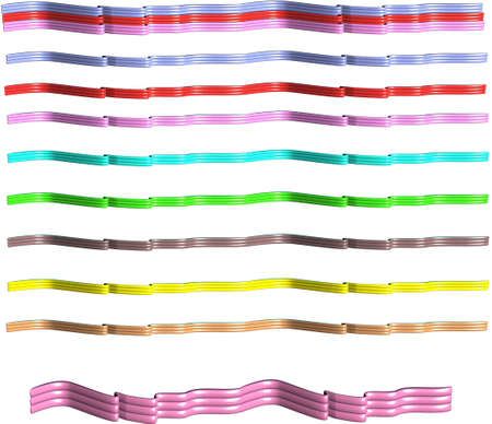 multi colored  and styles of ribbons in 3d on white  Ilustrace