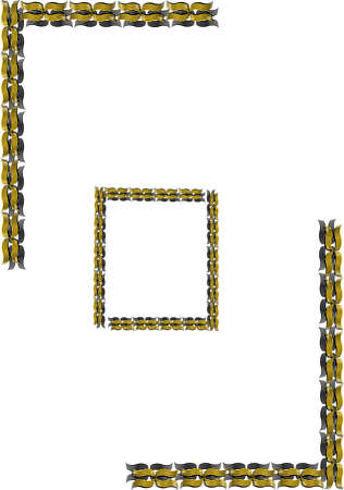 gold filigree border and frame in 3d on white background 일러스트