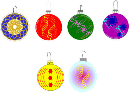 xmas ornaments in 3d on white Vector