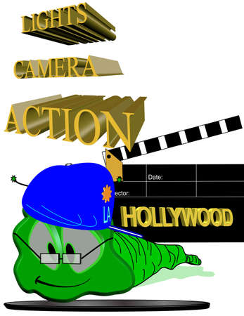 willy: willy worm visits hollywood in 3d on white Illustration