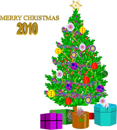 xmas 2010 on white with tree decorated and gifts in 3d  Stock Vector - 6883607