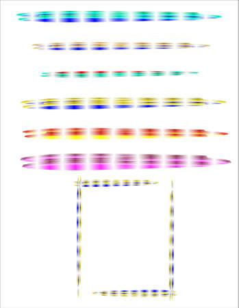 s�parateurs: Rainbow frame et s�parateurs en 3d sur fond blanc