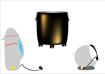cast iron soup kettle and elecrtic kettles in 3d on white Vector