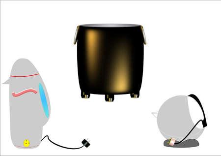 gusseisen: Gusseisen Suppe Wasserkocher und Elecrtic Wasserkocher in 3d auf wei�