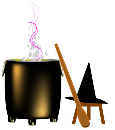 witchs lair  with boiling cauldron and stirrer in 3d on white Stock Vector - 6918704
